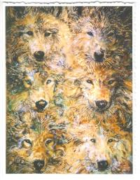 Gloria Masse Six Wolves Greeting Card Watercolor